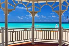 View from an arbor to the Atlantic Ocean. Varadero, Cuba Royalty Free Stock Photography