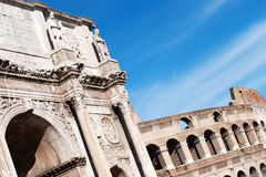 View of Arc and Colosseum in rome Stock Photo