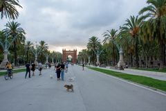 View from Arc de Triomf in Barcelona Spain stock images