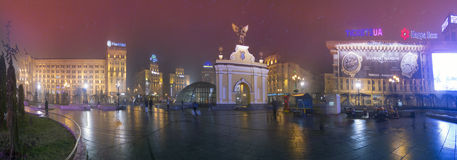 View of the Arc de Triomphe with a black ange. Kyiv, Ukraine - November 23, 2013: All-round panorama Independence Square, Maidan area. View of the Arc de Royalty Free Stock Image