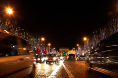 View on Arc de Triomphe from Champs Elysees. Focused on the Arc Stock Photos
