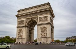 View of the Arc de Triomphe from the Champs Elysees in Paris. France on 26 August 2018 stock images
