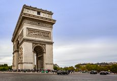 View of the Arc de Triomphe from the Champs Elysees in Paris. France on 26 August 2018 royalty free stock photos