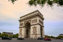 View of the Arc de Triomphe from the Champs Elysees in Paris. France on 26 August 2018 royalty free stock photo