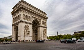 View of the Arc de Triomphe with the Eiffel Tower in the background from the Champs Elysees in Paris. France on 26 August 2018 royalty free stock image