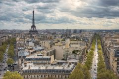 View from the Arc de Triomphe on the Eiffel tower. And Avenue Kleber. Paris. France Royalty Free Stock Photography