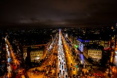 View from Arc de triomphe at night,Photo image a Beautiful panoramic view of Paris Metropolitan City. Photo image a Beautiful panoramic view of Paris City Stock Photography