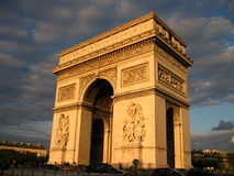 View of the arc de Triomphe in Paris. Beautiful view of the arc de Triomphe at sunset in Paris Royalty Free Stock Images