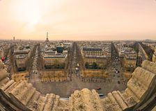 View from Arc de triomphe of Paris. Fish-eye View from Arc de triomphe of Paris Stock Photos