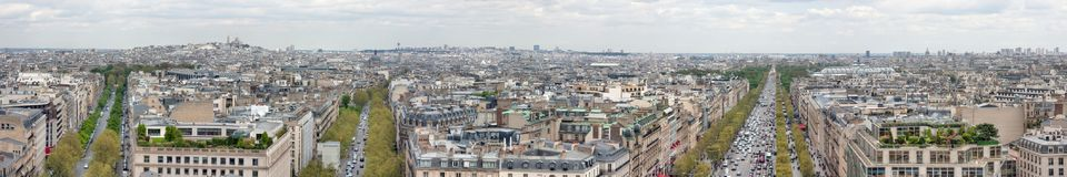 View from the Arc de Triomphe on Paris. France. View from the Arc de Triomphe on Paris. In the distance you can see the monmartre and the Basilica of the Sacre Stock Photos