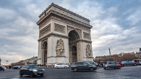 View of the Arc de triomphe in Paris, France. Late afternoon Stock Images