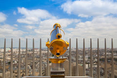 View from Arc de Triomphe and tourist telescope in Paris, Royalty Free Stock Image