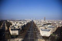 View from Arc de Triumph. View on Paris from famous Arc  Triumph in Paris, France Stock Photos