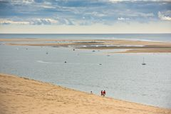 View of The Arcachon Bay and The Duna of Pyla, France. View of The Arcachon Bay and The Duna of Pyla, Aquitaine, France Royalty Free Stock Photo