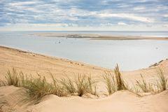 View of The Arcachon Bay and The Duna of Pyla, France. View of The Arcachon Bay and The Duna of Pyla, Aquitaine, France Royalty Free Stock Photos