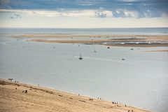 View of The Arcachon Bay and The Duna of Pyla, France. View of The Arcachon Bay and The Duna of Pyla, Aquitaine, France Stock Photography