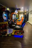 View of the arcade games that are waiting for glad players on board a cruise ship stock photos