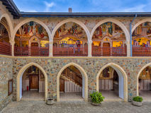 View of Arcade in monastery. View of Arcades with golden mosaics in the famous Kykkos monastery on Cyprus Royalty Free Stock Photo