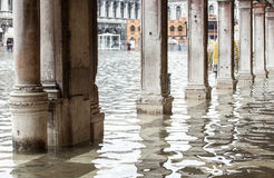 View of the arcades with high water in Venice. Royalty Free Stock Photos