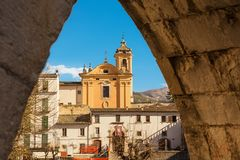 View from the arch of the aqueduct on the Piazza Garibaldi of Su. Lmona and people strolling Royalty Free Stock Photography