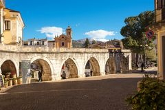 View of the arch of the aqueduct on the Piazza Garibaldi of Sulm. Sulmona, Italy - April 2, 2018: View of the arch of the aqueduct on the Piazza Garibaldi of Stock Photography