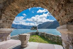 View from the Our Lady of the Rocks basilica. The view from the arch of basilica of Our Lady of the Rocks in Perast, Montenegro Royalty Free Stock Images
