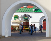 View through arch of beer restaurant At Town Hall, Minsk, Belarus stock photos