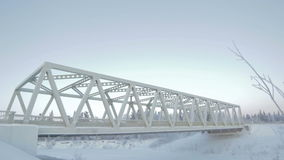 View on Arch Bridge in Blue Arctic Sky stock footage