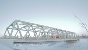 View on Arch Bridge in Blue Arctic Sky stock video footage
