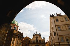 View from the arch on Catholic Church of St. Salvador in Prague, Czech Republic. PRAGUE,CZECH REPUBLIC - JUNE 23, 2017: View from the arch on Catholic Church of Stock Image