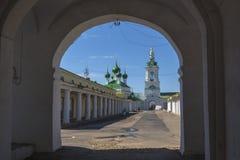 View through an arch at Church in Kostroma. City Royalty Free Stock Photos