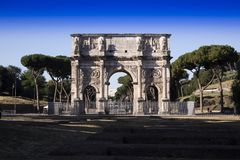 Arch of Constantine Rome. View of the Arch of Constantine located in Rome the eternal city Royalty Free Stock Images