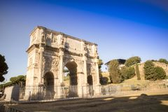 Arch of Constantine Rome. View of the Arch of Constantine located in Rome the eternal city Royalty Free Stock Photo