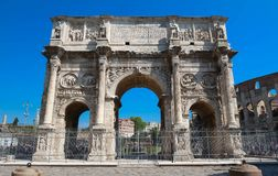 The Arch of Constantine near the colosseum in Rome, Italy. The view of Arch of Constantine near the colosseum in Rome, Italy Royalty Free Stock Photography