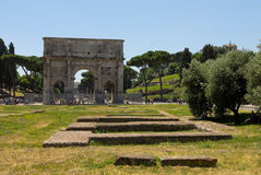 View of the Arch of Constantine in Rome by day. Overview of the Arch of Constantine in Rome in Italy during the day Stock Image
