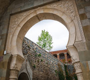 View on arch entrance on Rabati Castle complex in Akhaltsikhe, Georgia.  Stock Photo