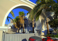 View through resort hotel arch  Royalty Free Stock Images