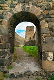 View through arch. Khertvisi fortress on mountain. Georgia. View through the arch. Khertvisi fortress on mountain. It is one of the oldest fortresses in Georgia Stock Photography