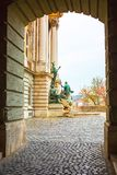 View through the arch of Matthias Fountain in. The northwest courtyard of the Royal Palace or Buda Castle, famous historic landmark in Budapest, Hungary Stock Photography