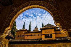 View from arch. To a blue sky. Picture was taken in Seville, Spain Royalty Free Stock Image