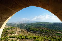 View from the arch to the valley and mountains, Greece stock photography