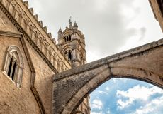 View of arch and tower of Palermo Cathedral with perspective from below, Sicily, Italy Royalty Free Stock Images