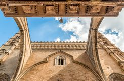 View of arch and tower of Palermo Cathedral with perspective from below, Sicily, Italy Royalty Free Stock Image