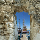 View through arch on yachts, Eilat Royalty Free Stock Photo