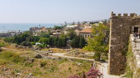 View of the archaeological excavations of Byblos from the Crusader castle. Byblos, Lebanon royalty free stock photography