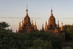 Sunset in the Temples and pagodas of Bagan. View of the archaeological park of the ancient temples and pagodas of Bagan. Myanmar royalty free stock image