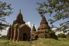 Temples and pagodas of Bagan. View of the archaeological park of the ancient temples and pagodas of Bagan. Myanmar stock photography