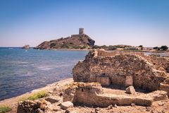 View of the archaeological site of Nora, Sardinia. royalty free stock photo