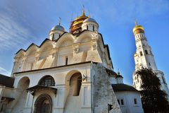 Archangels church and Ivan Great Bell tower of Moscow Kremlin. UNESCO World Heritage Site. View of the Archangels church and Ivan Great Bell tower of Moscow stock photography