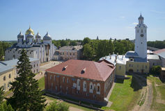 View of the Archbishop's yard a sunny day in July. The Kremlin of Veliky Novgorod Royalty Free Stock Images